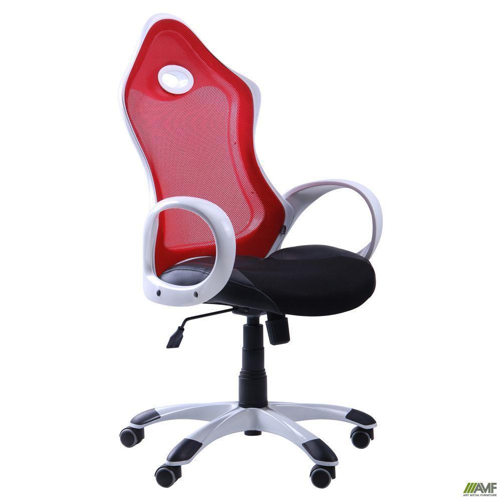 Кресло Матрикс-1 Белый, сиденье Сетка черная/спинка Сетка красная