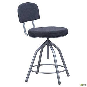 Стілець для касира АМФ гвинтовий м'яке сидіння тканина чорна металевий каркас алюм
