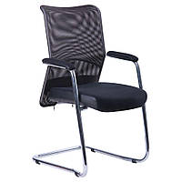 Офисное кресло АМФ Аэро CF хром сиденье сетка Черная, на полозьях