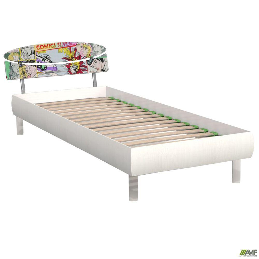 Кровать 0,8х2 Кэнди (МДФ принт), белое дерево/принт Комикс, ножки буковые цилиндр белые