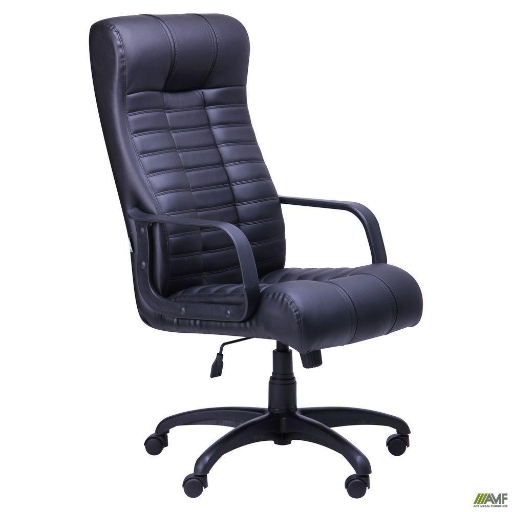 Офисное кресло руководителя AMF Атлантис черный кожзам и пластик на колесиках