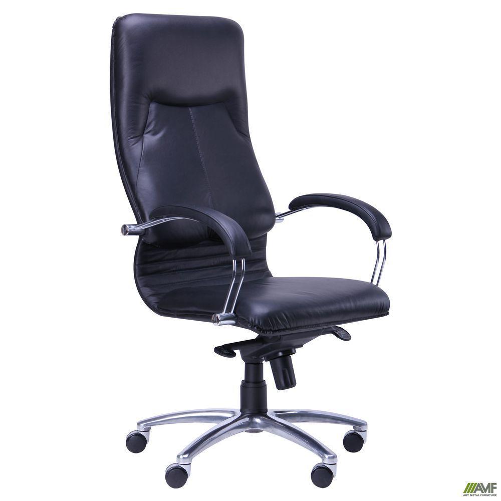 Кресло Ника HB хром Кожа Люкс комбинированная черная