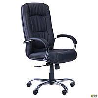 Офисное кресло AMF Марсель черный-кожзам хром-ножки механизм-ANYFIX