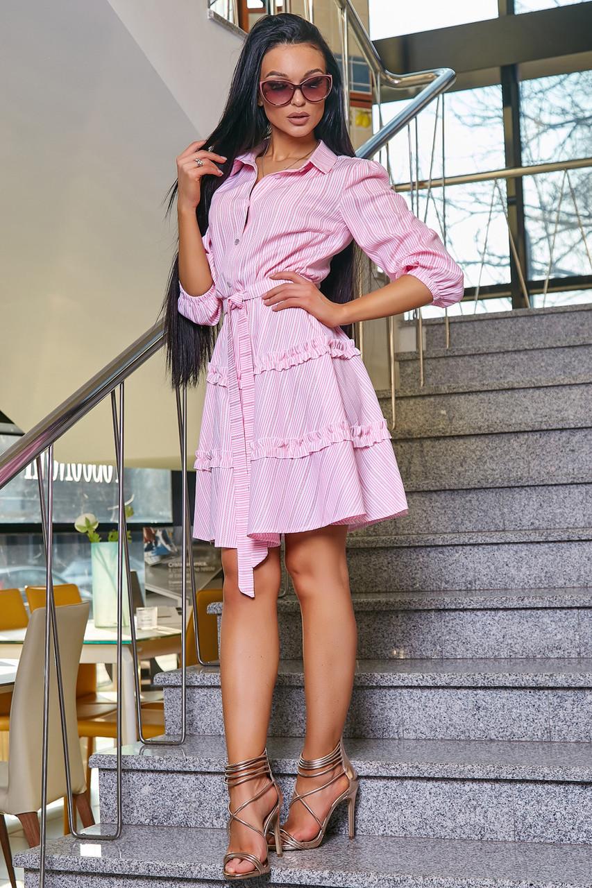 Женское повседневное платье розовое в полоску, с рюшами, романтичное, молодёжное, весеннее, летнее