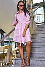 Женское повседневное платье розовое в полоску, с рюшами, романтичное, молодёжное, весеннее, летнее, фото 2