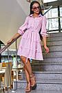 Женское повседневное платье розовое в полоску, с рюшами, романтичное, молодёжное, весеннее, летнее, фото 3