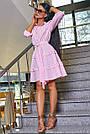 Женское повседневное платье розовое в полоску, с рюшами, романтичное, молодёжное, весеннее, летнее, фото 4