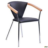 Обеденное кресло-стул АМФ Таня хром сидение-черный кожзам подлокотники-бук
