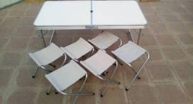 Стол складной для пикника + 6 стульев серый