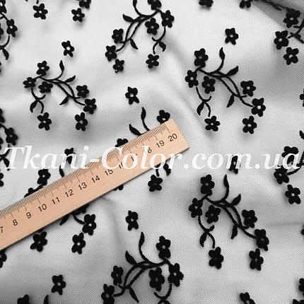 Сетка флок цветочки черный, фото 2