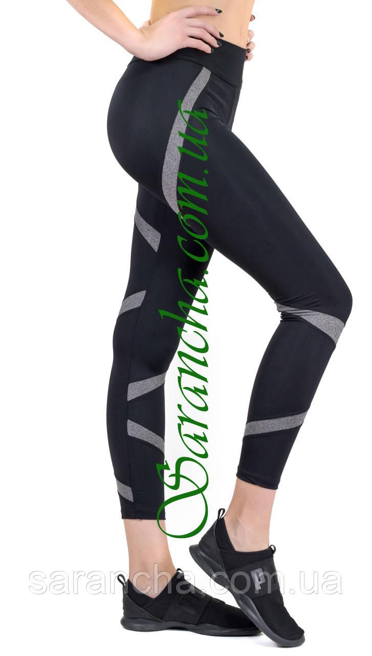 Женские спортивные лосины (норма), чер/меланж, Америка