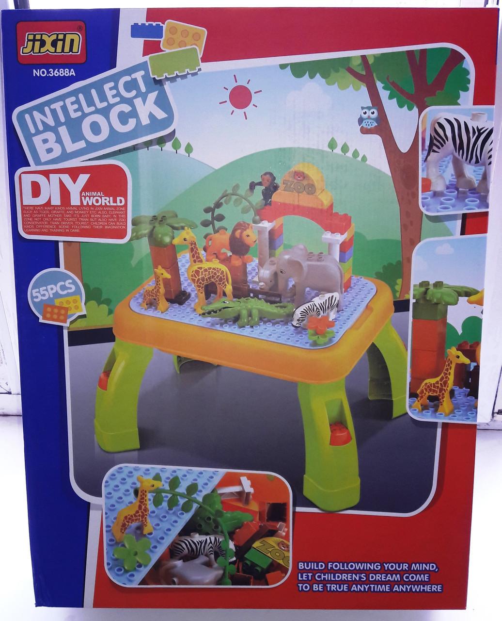 Конструктор для малышей Зоопарк jixin 3688 А со столиком, на 55 деталей