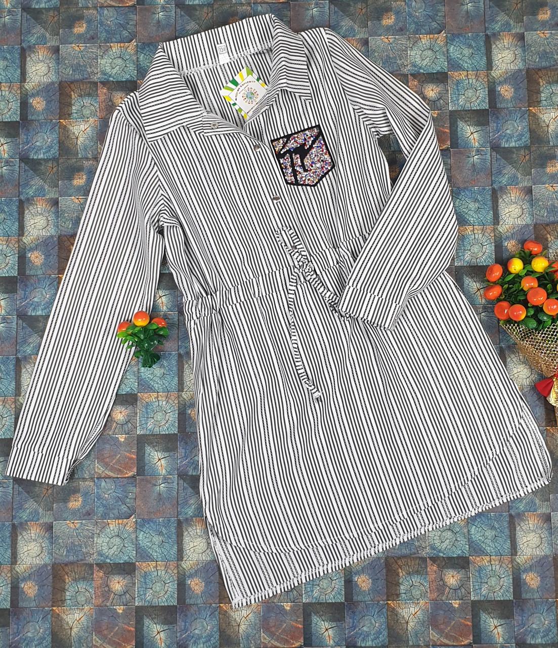 Платье-рубашка в полоску для девочек   116-134/ СЕРЫЙ