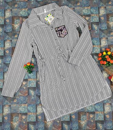 Платье-рубашка в полоску для девочек   116-134/ СЕРЫЙ, фото 2