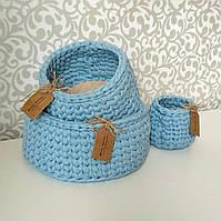 Набор трикотажных корзиночек из пряжи Spagetti , фото 1