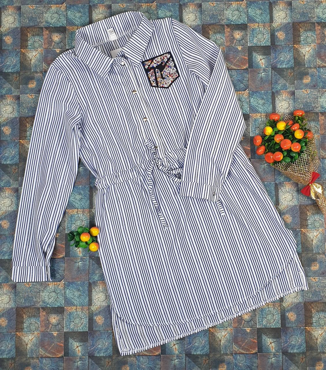 Платье-рубашка в полоску для девочек   116-134/ джинс