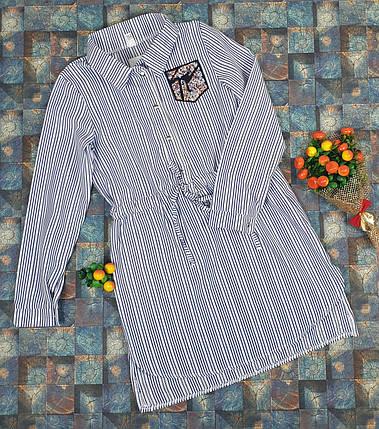 Платье-рубашка в полоску для девочек   116-134/ джинс, фото 2