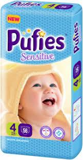 Подгузники Pufies Sensitive Maxi Pack 4 (7-14 кг), 56 шт.