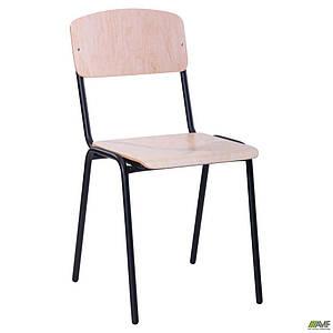 Шкільний стілець Учнівський АМФ №6 тверде сидіння фанера металеві ніжки чорного кольору