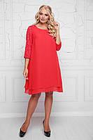 Молодежное платье большого размера, а-силуэта, красного цвета