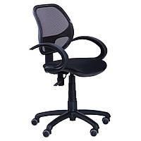 Компьютерное кресло AMF Байт-5 спинка-сетка черная с подлокотниками на колесиках