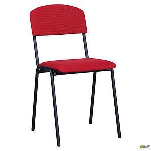 Офісний стілець Майстер AMF чорний каркас-ніжки м'яке червоне сидіння