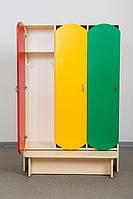 Шкаф для детской одежды 3-местный с лавкой