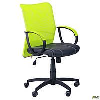 Офисное кресло АМФ-8 Лайт Net LB Софт спинка-сетка лайм сидение черное-нитка белая