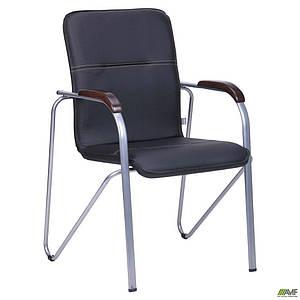 Офисный стул AMF Самба каркас-алюм подлокотники-орех кожзам-черный без канта