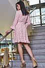 Платье персиковое с горохом с запахом воланами, фото 4