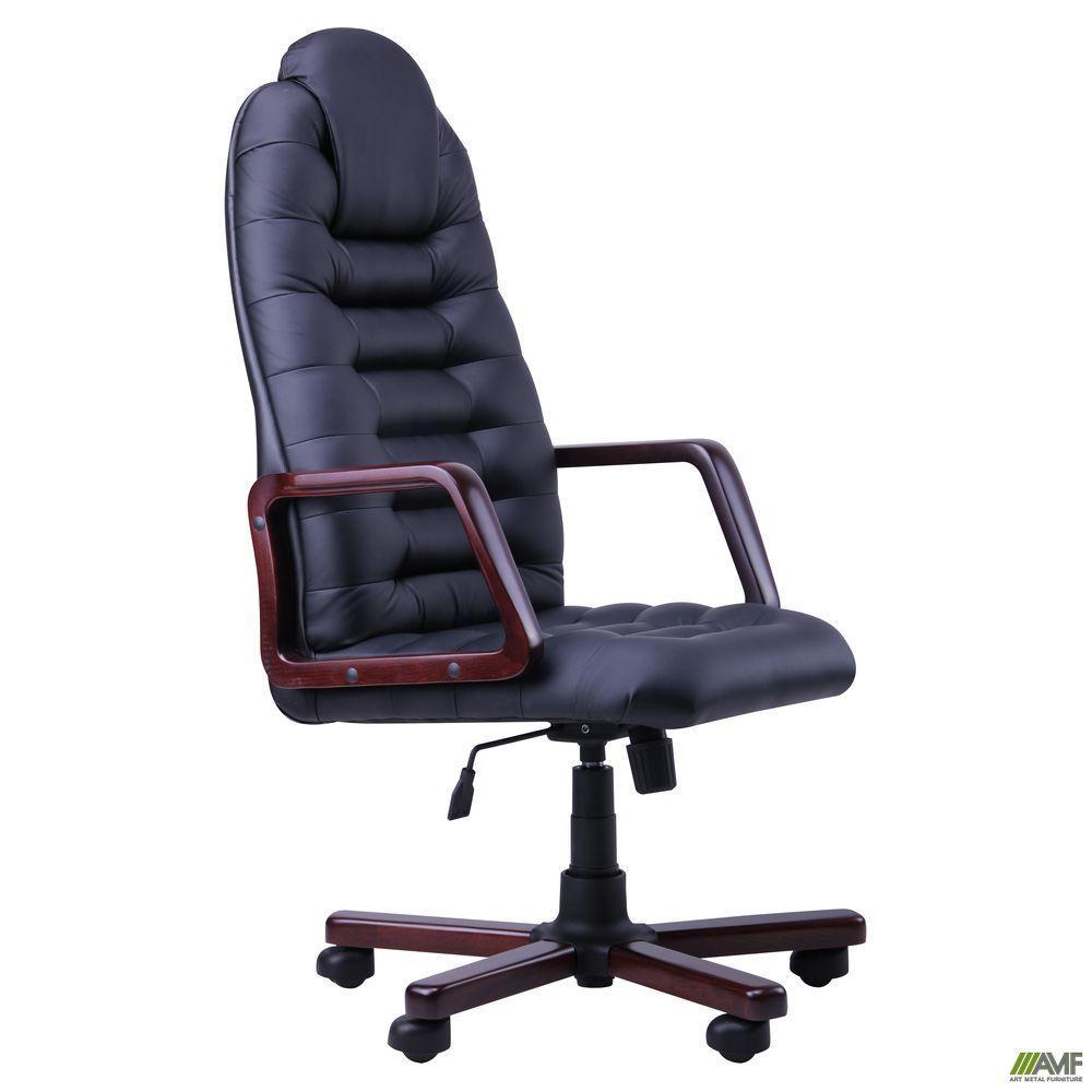 Офисное кресло Тунис AMF Экстра черное с деревянными подлокотниками цвета вишня