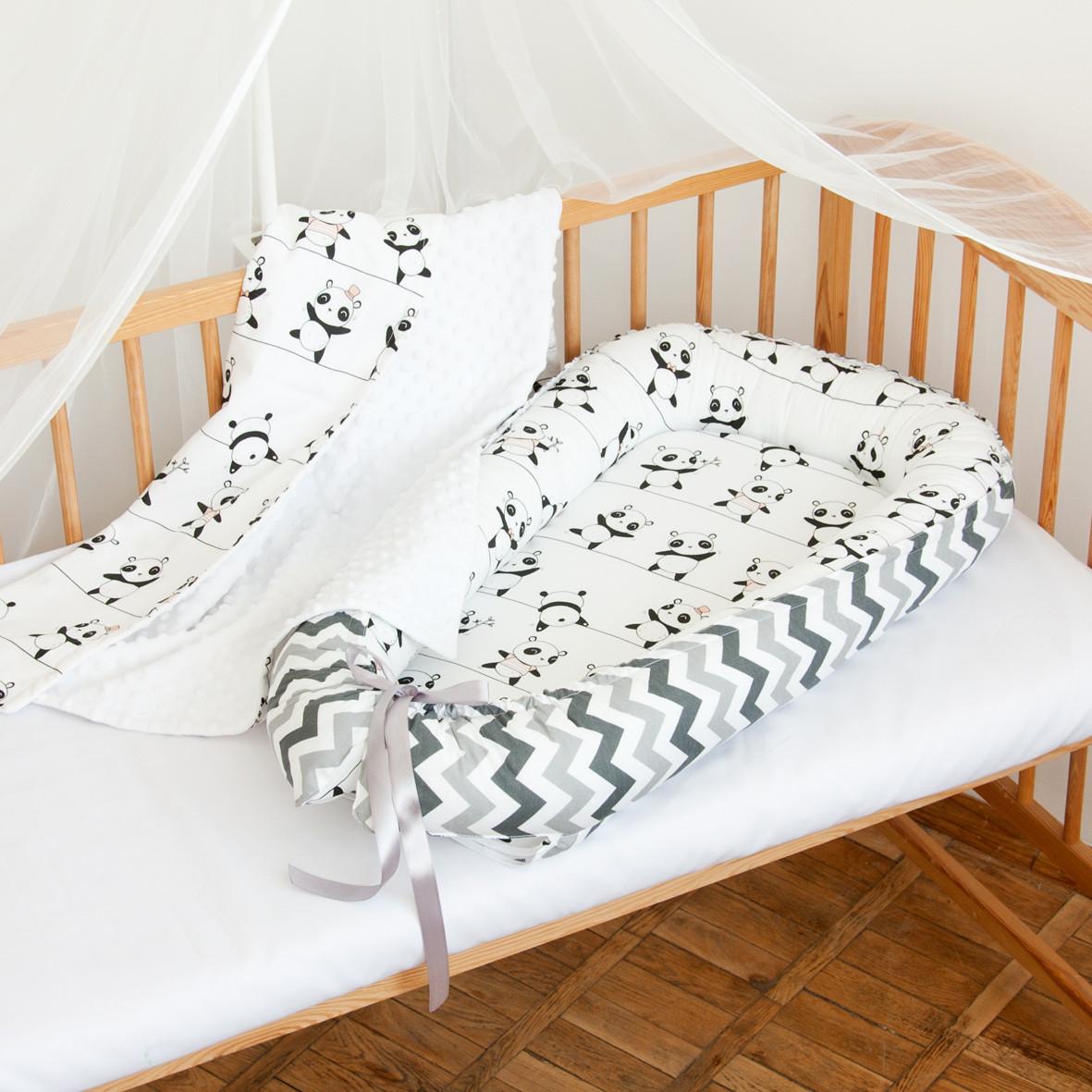"""Гнездышко-кокон для новорожденных """"Панды"""""""