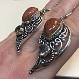 Авантюрин серьги золотой песок раух-топаз в серебре дымчатый кварц и авантюрин Индия, фото 4