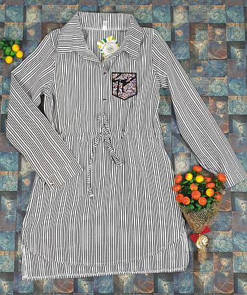 Платье-рубашка в полоску для девочек   140-158 / серый, фото 2