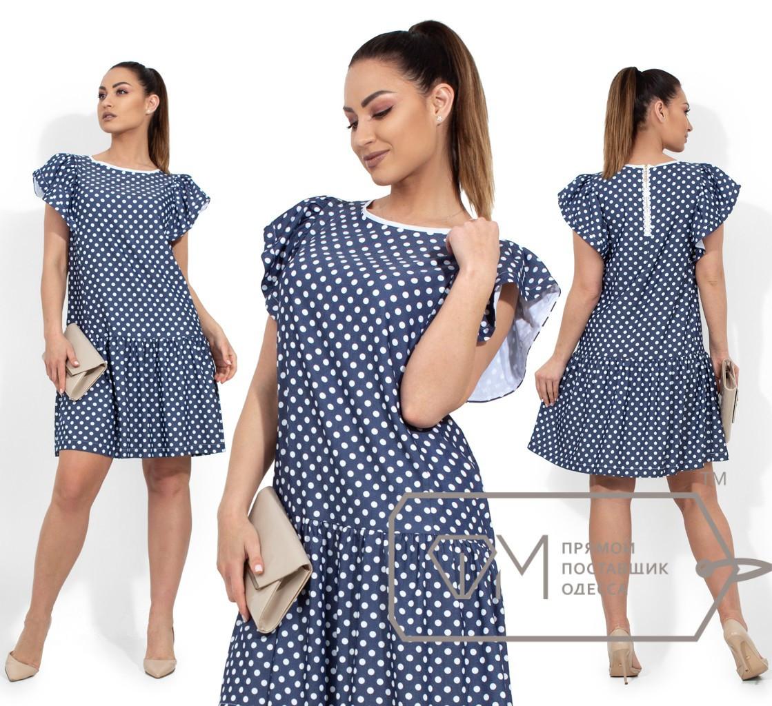 Джинсовое платье в горошек, синий