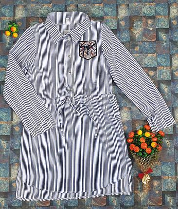 Платье-рубашка в полоску для девочек   140-158 / джинс, фото 2