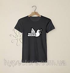 Мужская черная футболка, чоловіча футболка Peaceful Hooligan, Реплика