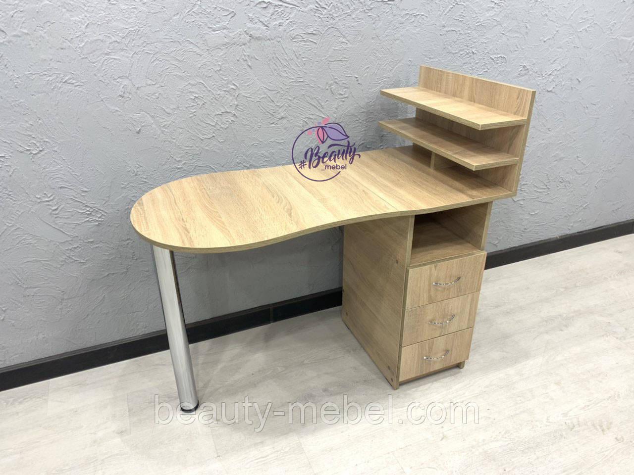 Маникюрный столик с полочкой для лаков, дуб сонома