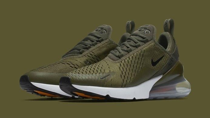 Кроссовки найк аир макс 270 оливковые демисезонные повседневные (реплика) Nike Air Max 270 Medium Olive