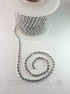 Стразовая цепь ss10 (2,8 мм), цвет - Прозрачный