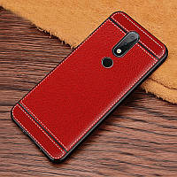 Чехол для Nokia 6.1 Plus / Nokia X6 / TA-1116 силикон бампер с рифленой текстурой красный