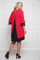 Красное женское платье большого размера а-силуэта,размеры 50-62
