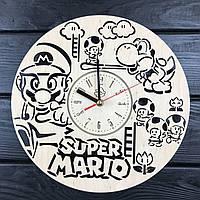 Стильные настенные деревянные часы «Супер Марио», фото 1