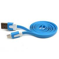 USB кабель плоский для Apple iPhone 5/5S/6 Синий