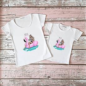 Family look парные футболки Фламинго мама и дочка комплект