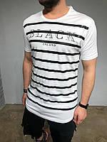 Мужская футболка Black Island белая с черными полосками