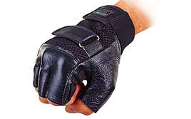 Перчатки спортивные многоцелевые BC-122 (кожа, откр.пальцы, р-р M, черный)