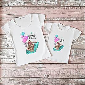 Family look парные футболки Девушка мама и дочка комплект