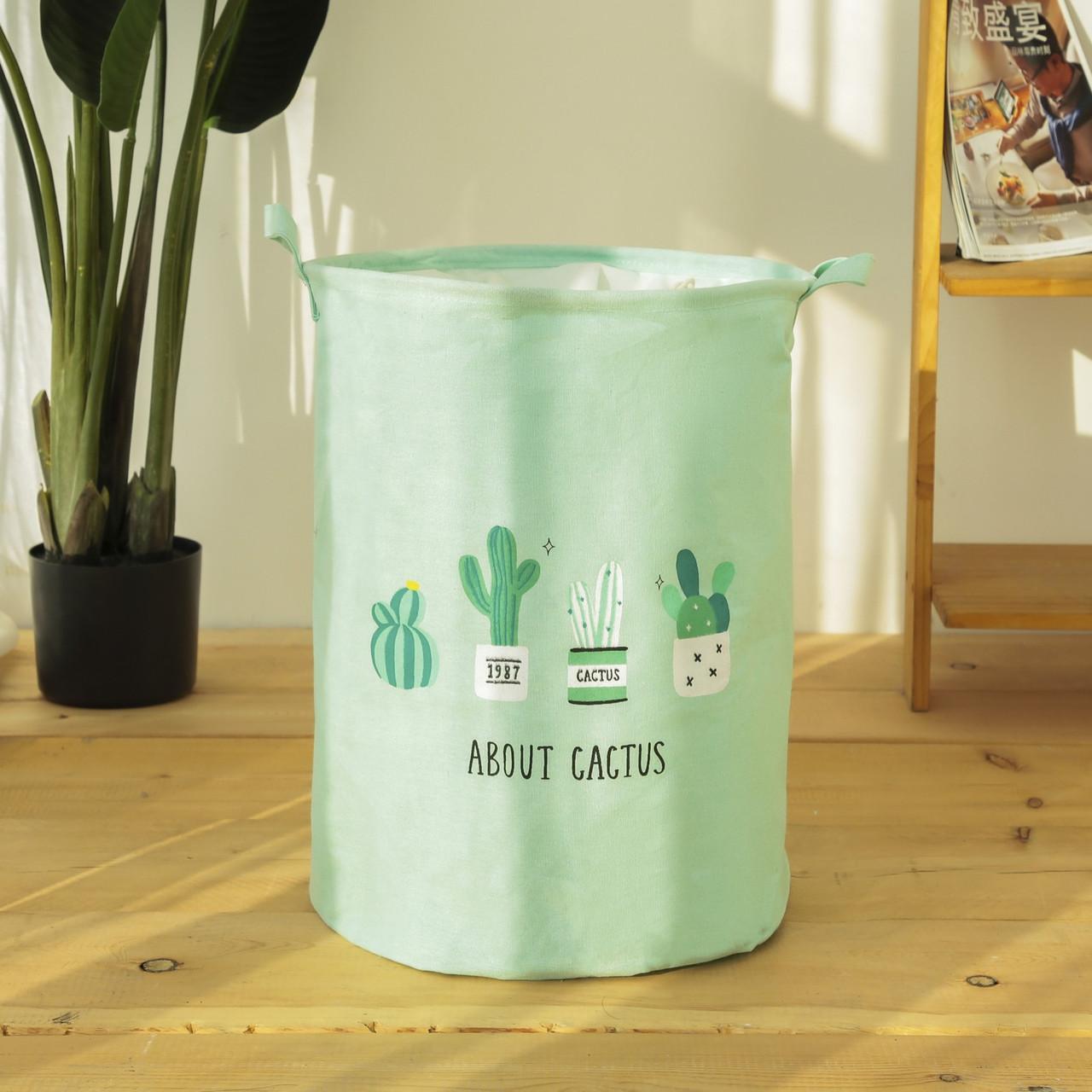 Зеленая корзина для игрушек на завязках Кактусы  (35х45)