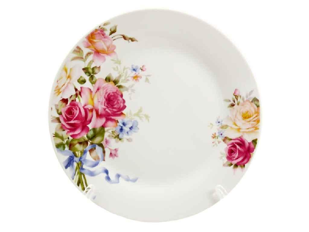 """Дрібні керамічні тарілки Рожева Троянда 175 мм (12 штук) 9037 """"INTEROS"""""""